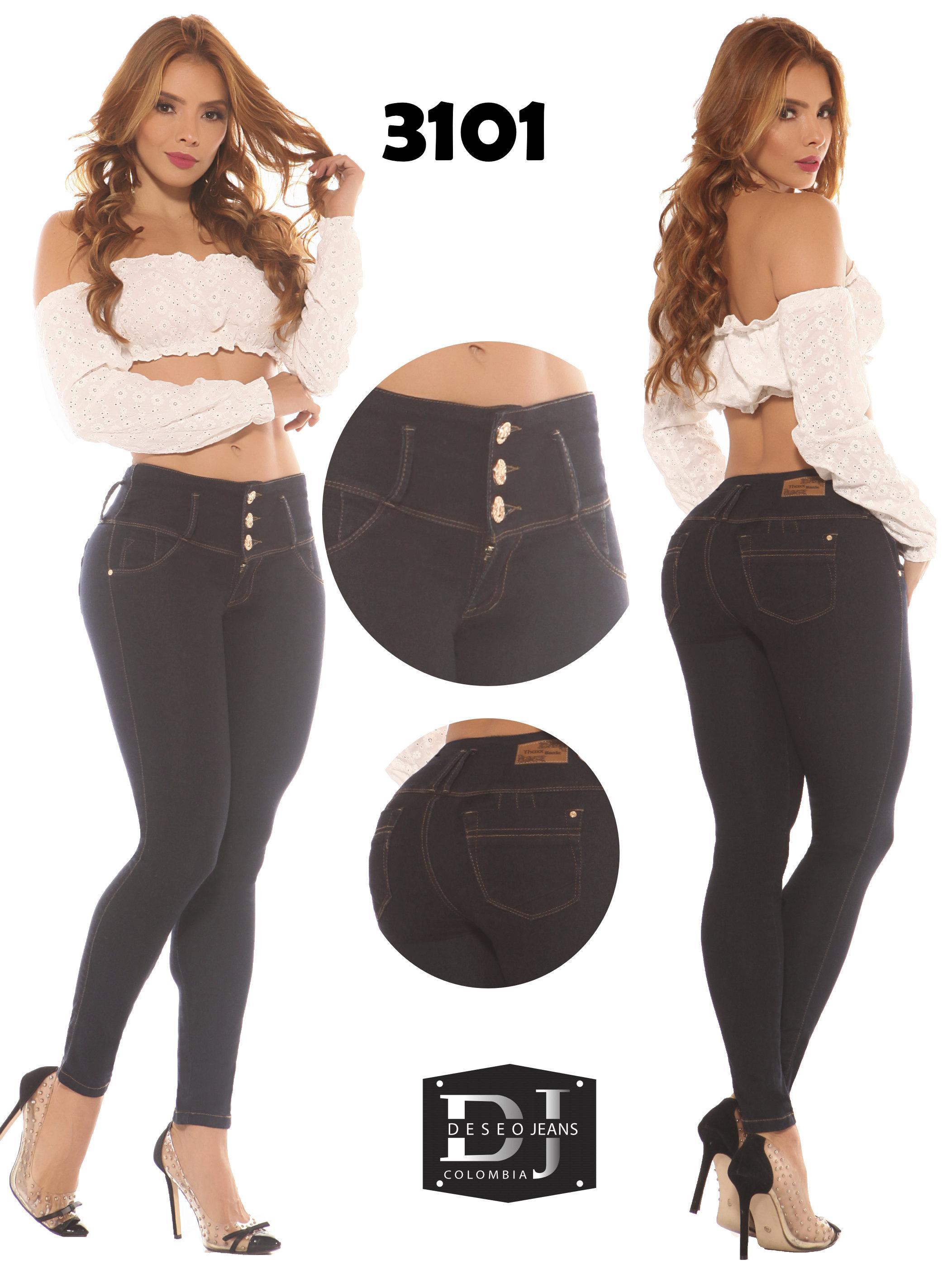 Jeans Colombiano con Bolsillos Traseros Efecto Levanta Cola y Color negro estilo clásico