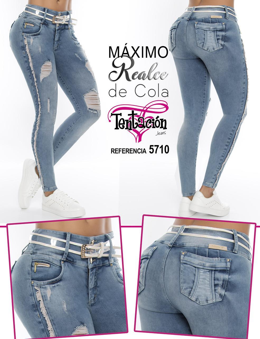 Pantalón Colombiano Jean de Moda Realce Total Push Up Desgastes y Destroyer