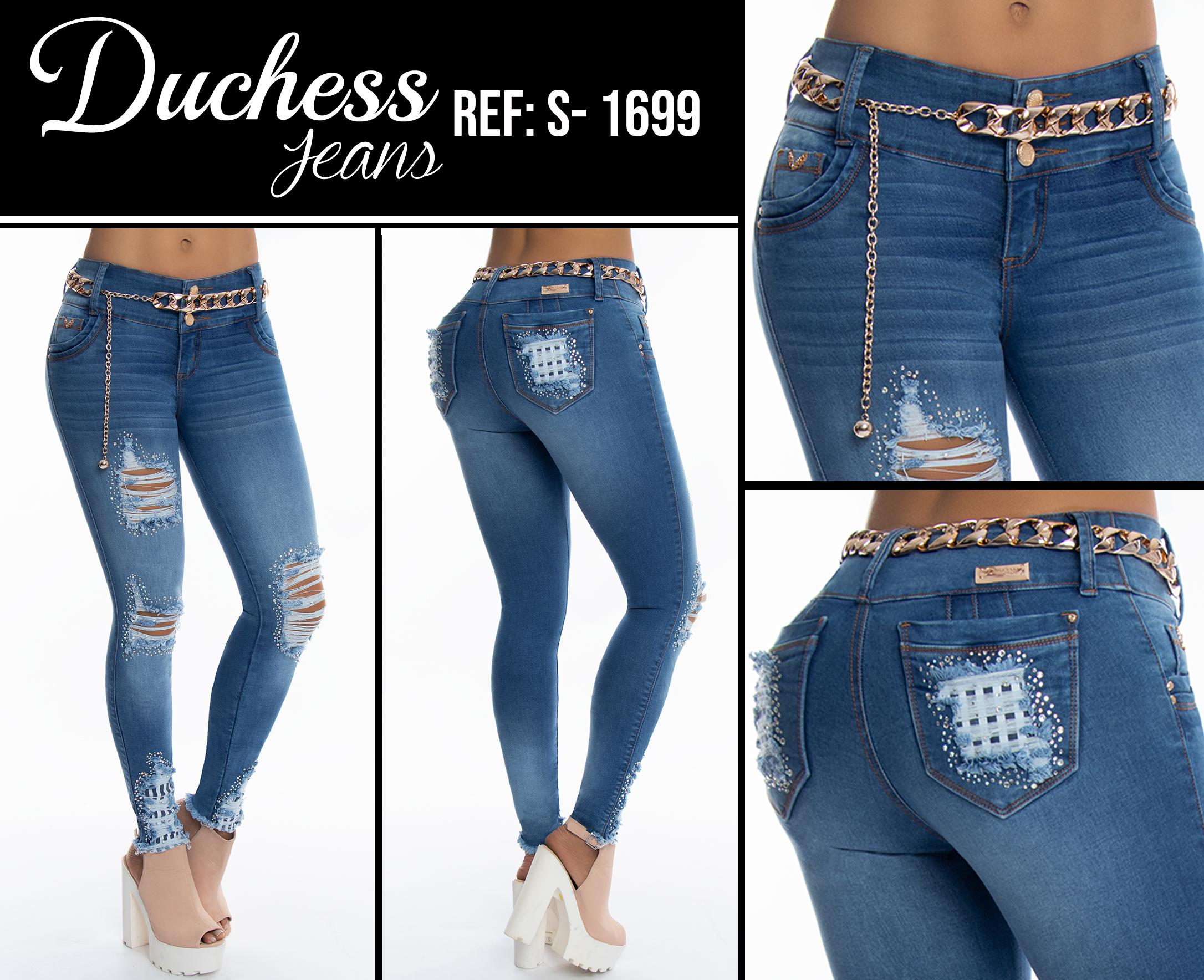 Pantalón Jean para Dama Con Bolsillos Traseros, Destroyer, Decoración en la bota y bigotes.