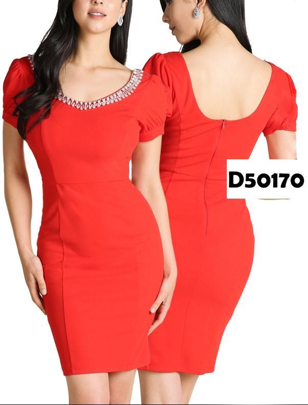 Vestido de Fiesta Corto,Con Cuello Redondo y Decorado.