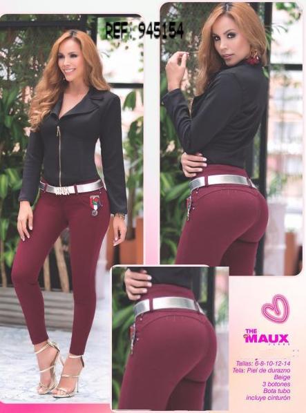Pantalón Colombiano para Dama Con Efecto Levanta Cola, Horma Perfecta y ajustado Color Vino