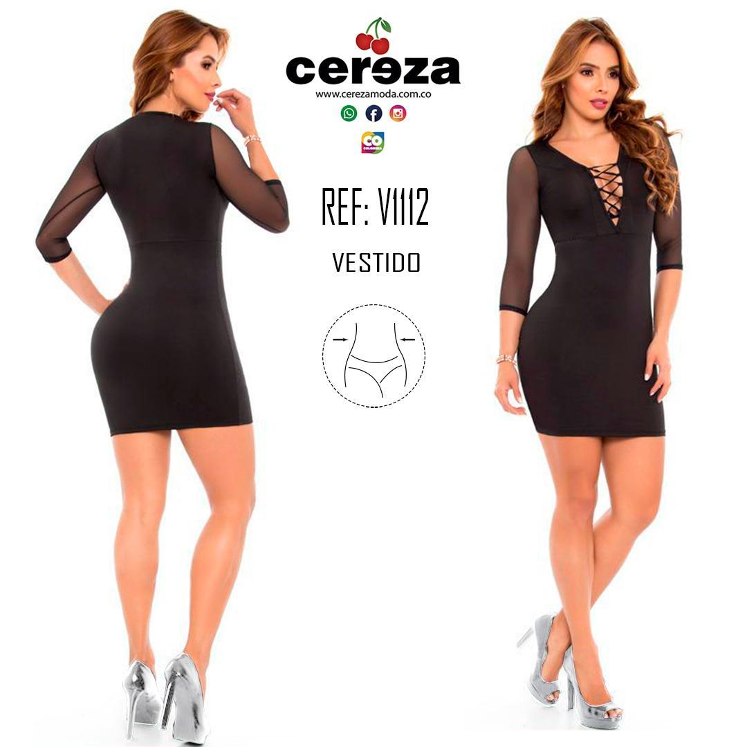 Vestido Colombiano Con Compresión de Cintura y mangas 3/4 semi transparentes