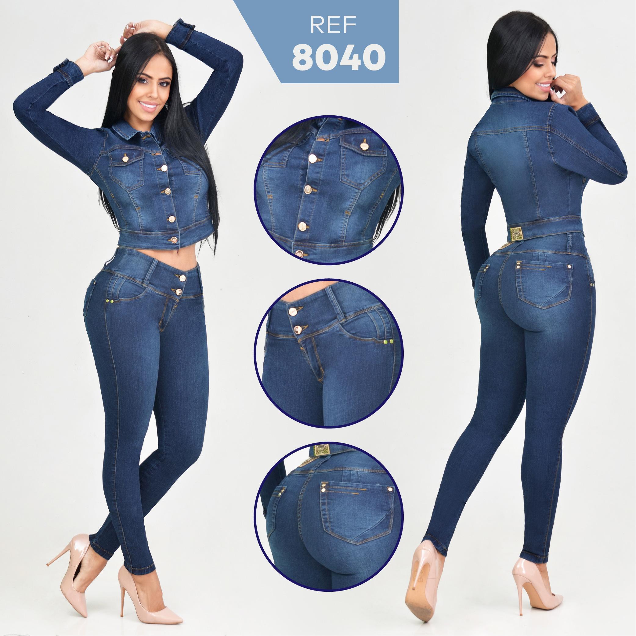 Conjunto Colombiano de Moda Marca RAKKET Jeans Levanta Cola y Chaqueta de Manga Larga