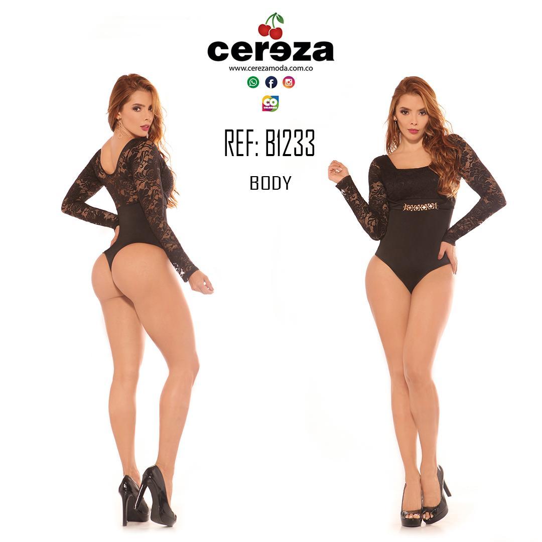Body Reductor Colombiano con diseño Bordado y manga larga