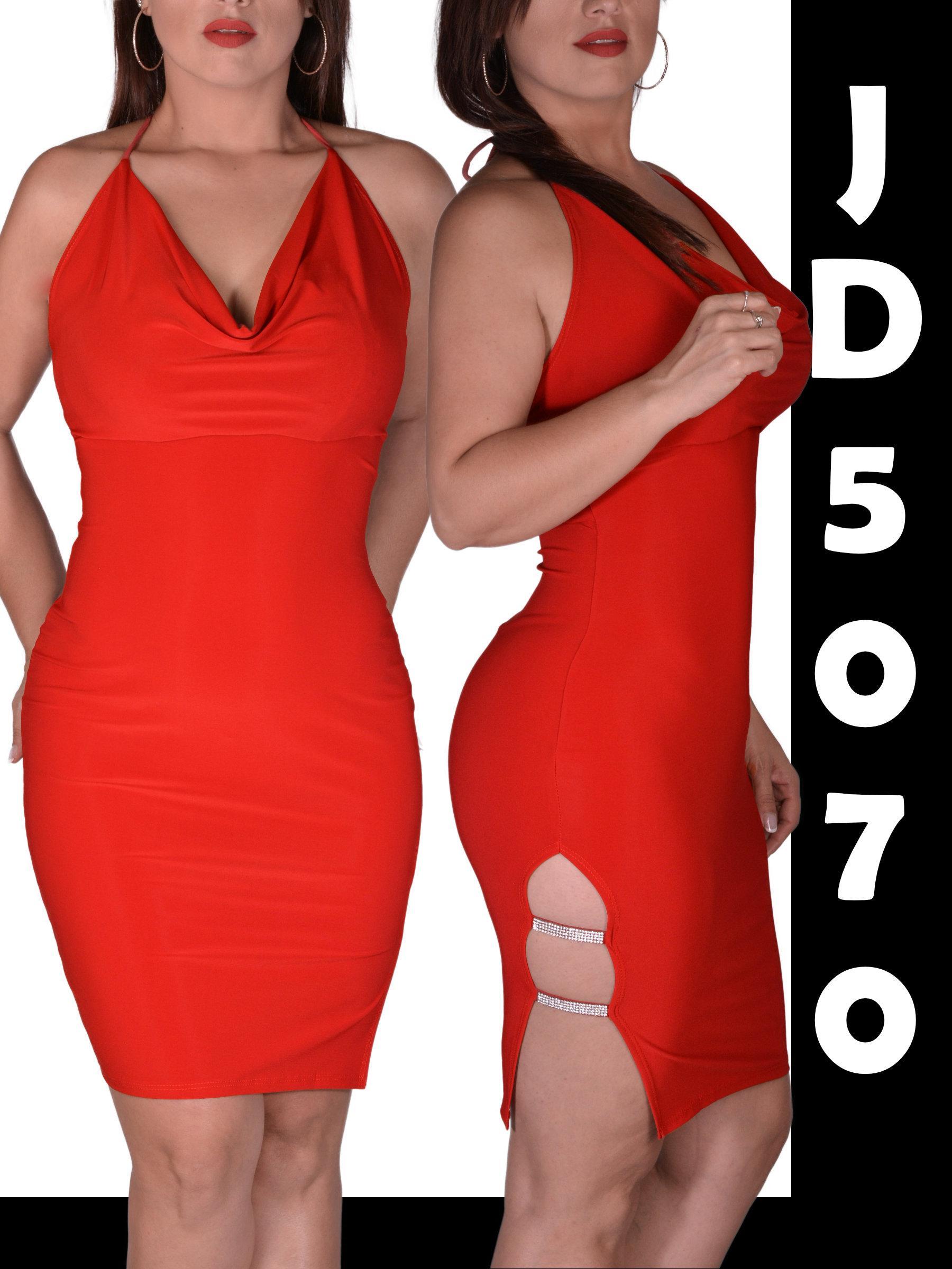 Vestido Sexy Americano para Dama, Falda con abertura Lateral