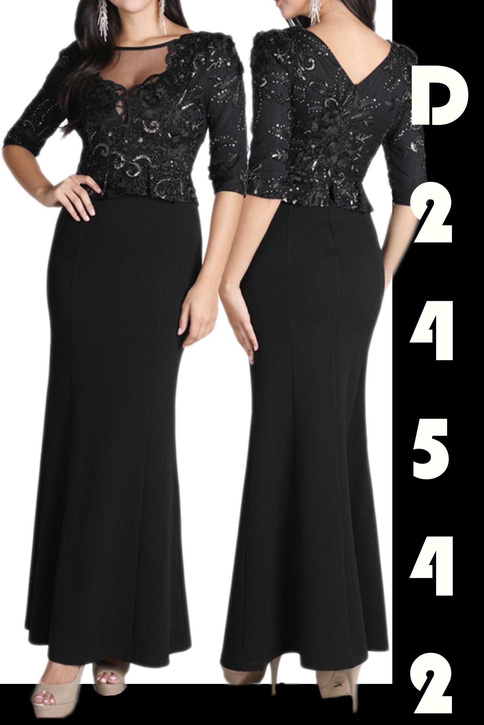 Vestido de Fiesta Largo con falda y superior decorado con lentejuelas