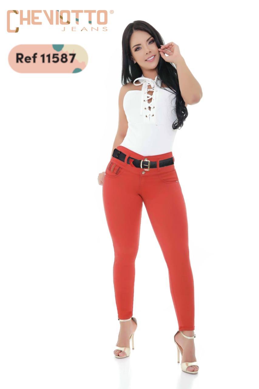 Pantalon Vaquero Cheviotto Color Rojo Pretina Alta efecto Push Up