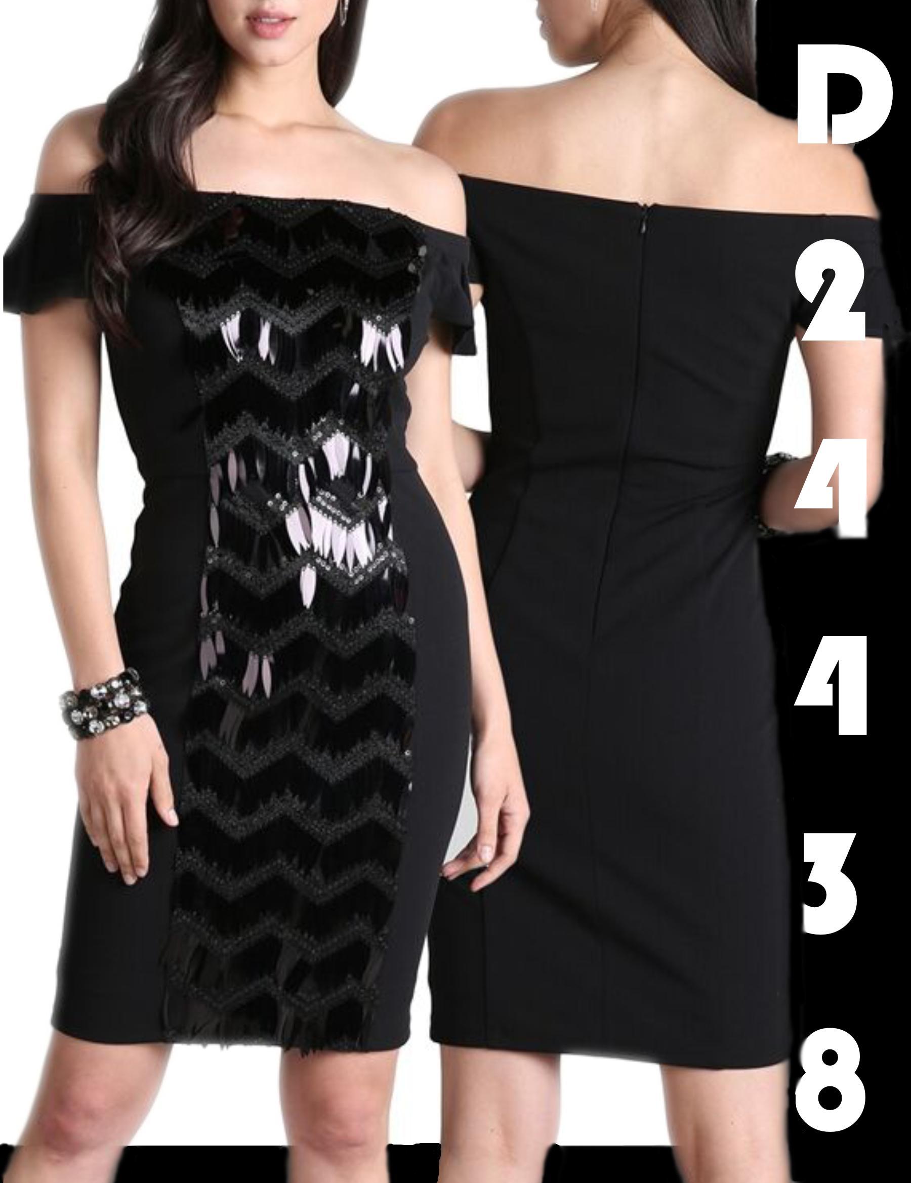 Vestido Americano Falda Corta, decorado frontal brillante