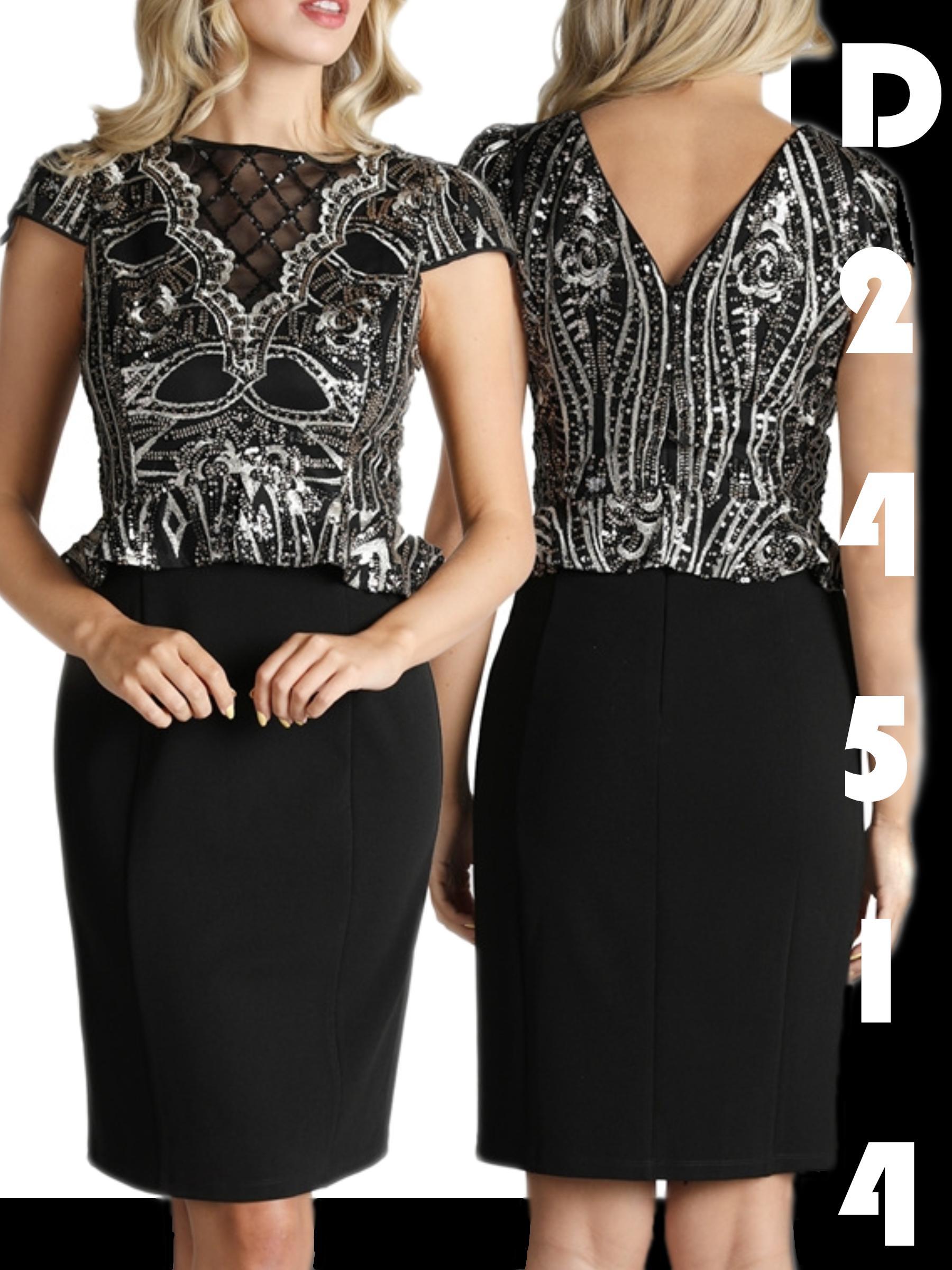 Sensacional Vestido de Dama Americano Color Negro con Diseño tipo cinturón en pedrería largo clásico a la rodilla