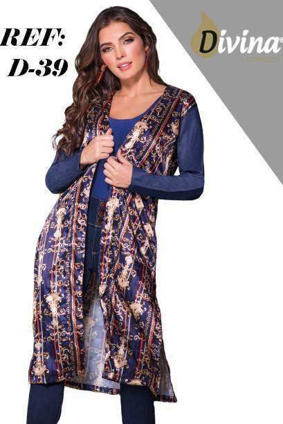 Cardigan para Dama decorado franjas y arabescos con mangas