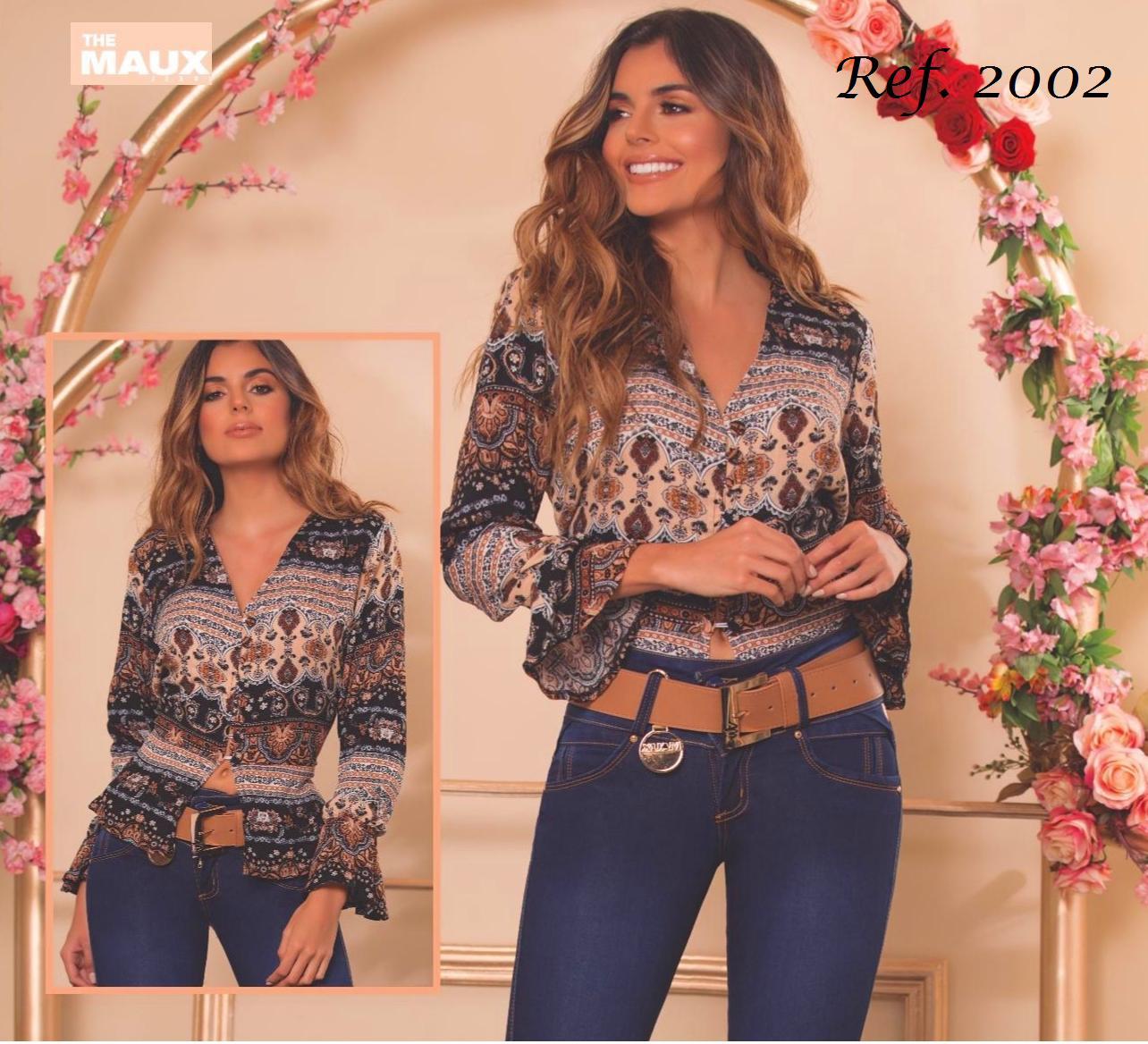 Blusa Colombiana de moda con estampado y manga larga