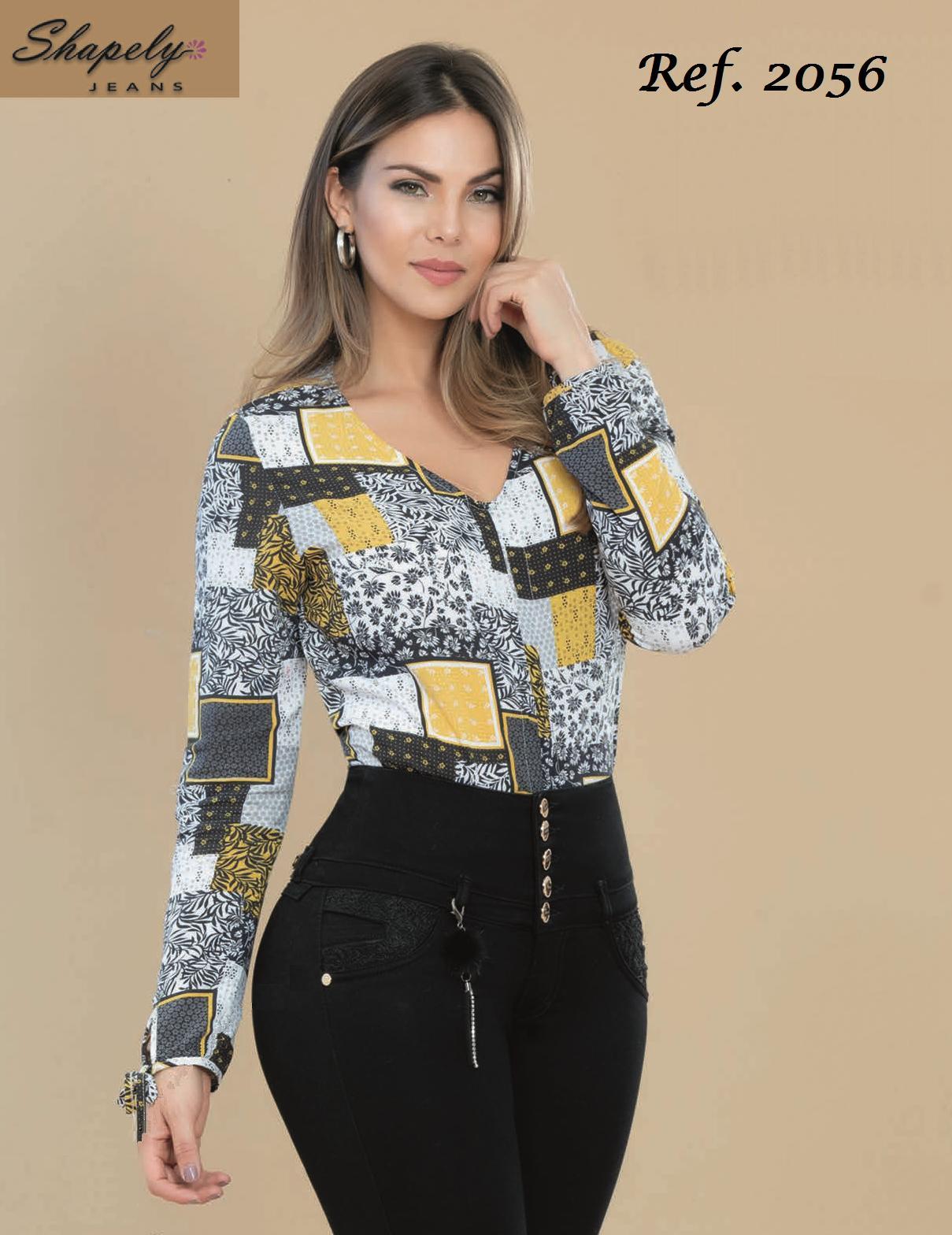 Blusa Hermosa de Moda con Estempado de cuadros a la moda