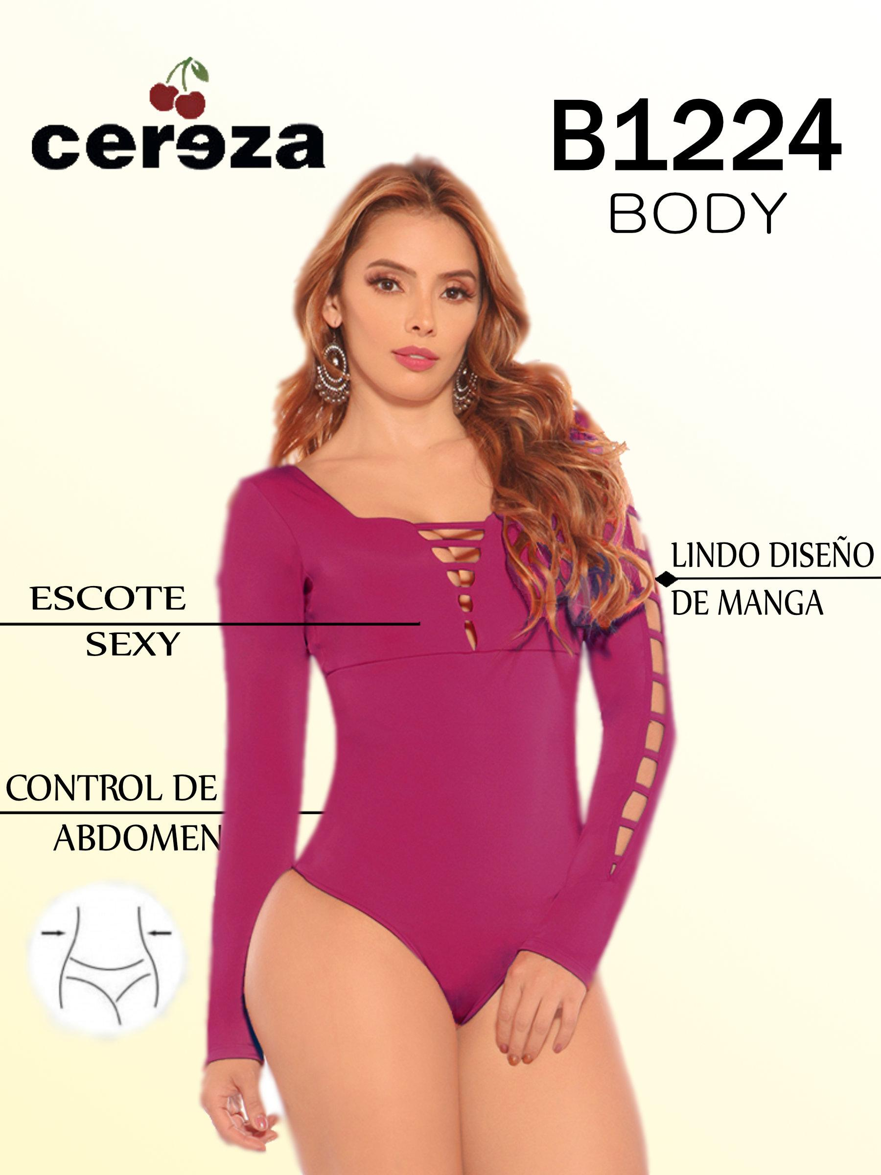 Body Colombiano de Moda Con Mangas largas y Diseño Exclusivo. Marca CEREZA Color Vino Tinto