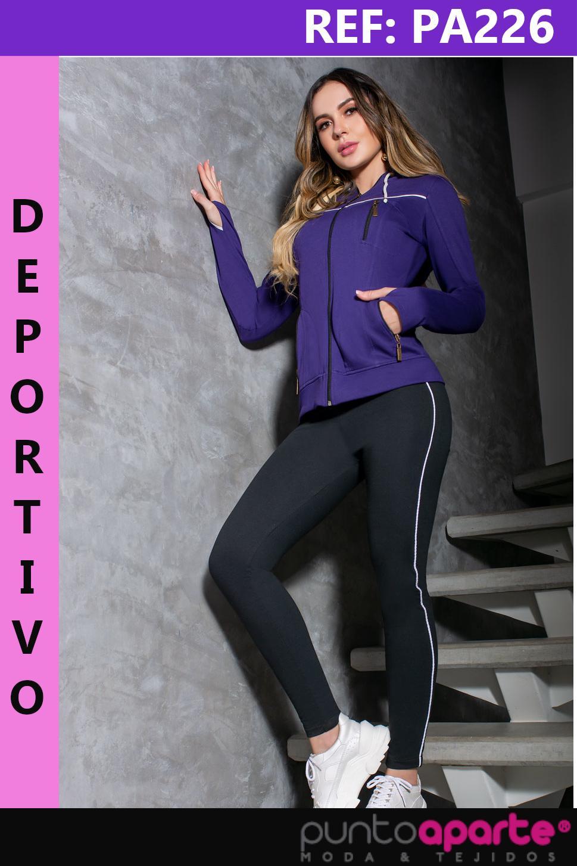 Conjunto deportivo para Dama Con chaqueta de cierre frontal y capota