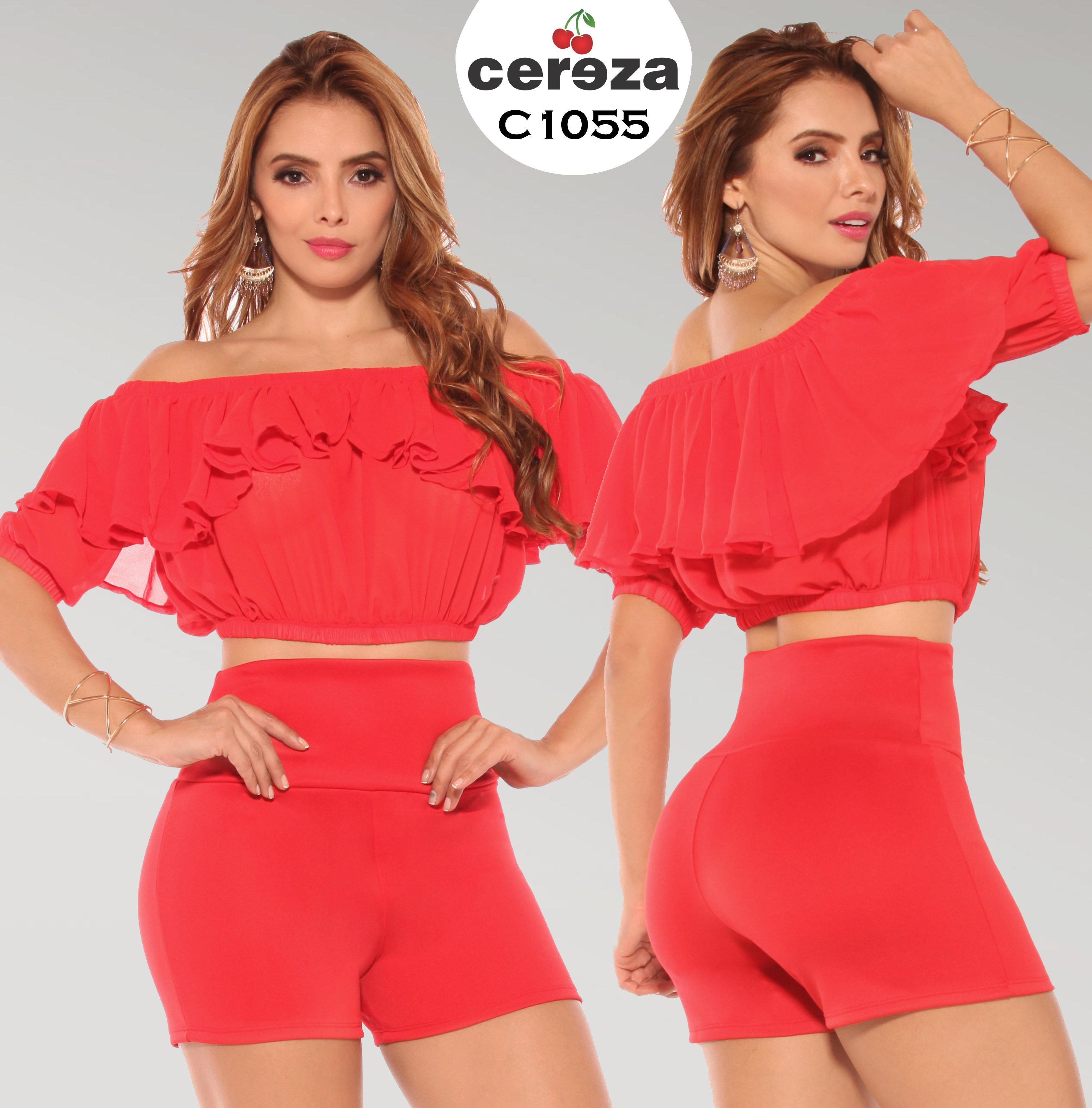 Conjunto Colombiano de Short y Blusa Tono Veraniego y Diseño Exclusivo