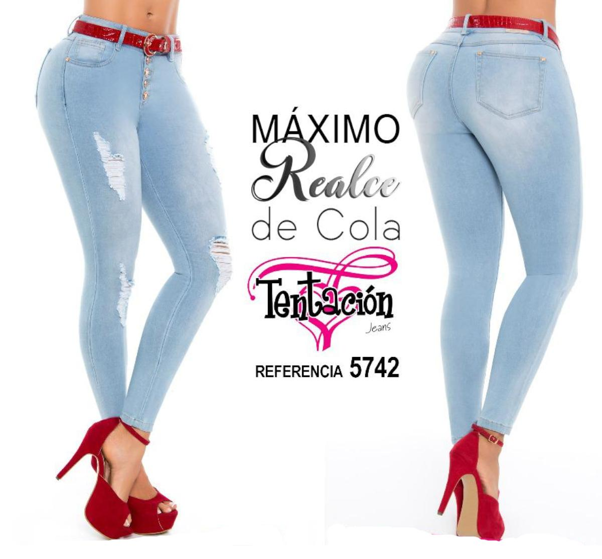 Jeans Vaqueros Colombianos Levanta Cola Máximo Realce Color Azul Hielo y Destroyer