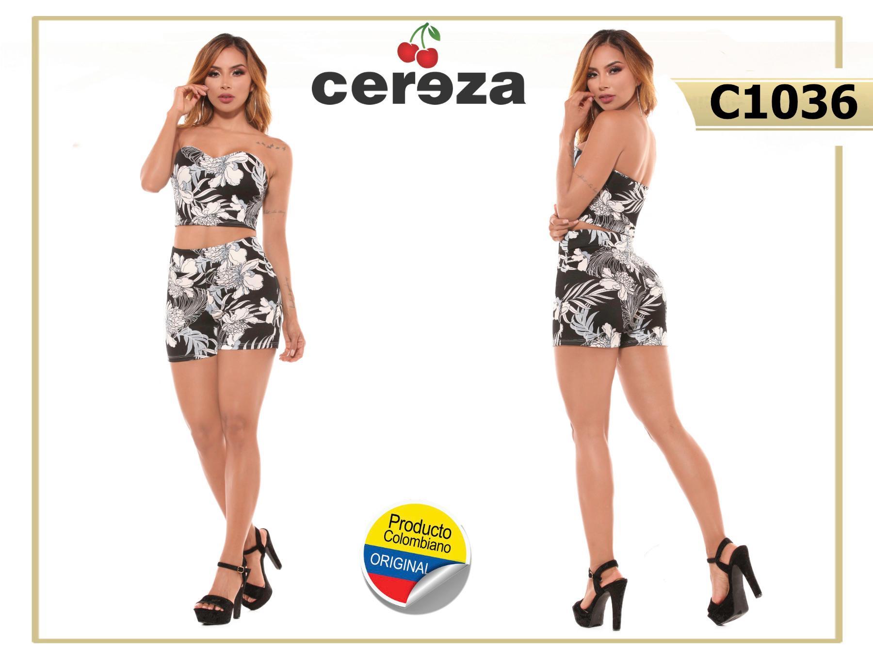 Fantástico Conjunto Colombiano para Dama, con Blusa Sin Mangas y Hombros descubiertos y Pantalon Corto tipo short ideal para el verano