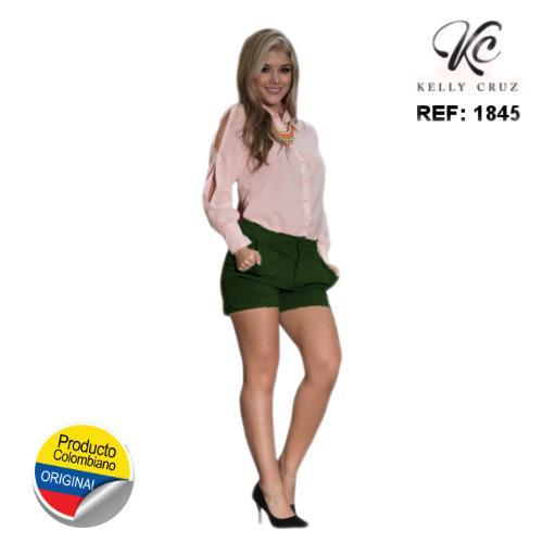 Fantástico Short Colombiano Con bolsillos Color Negro Marca Kelly Cruz, diseño Levanta Cola