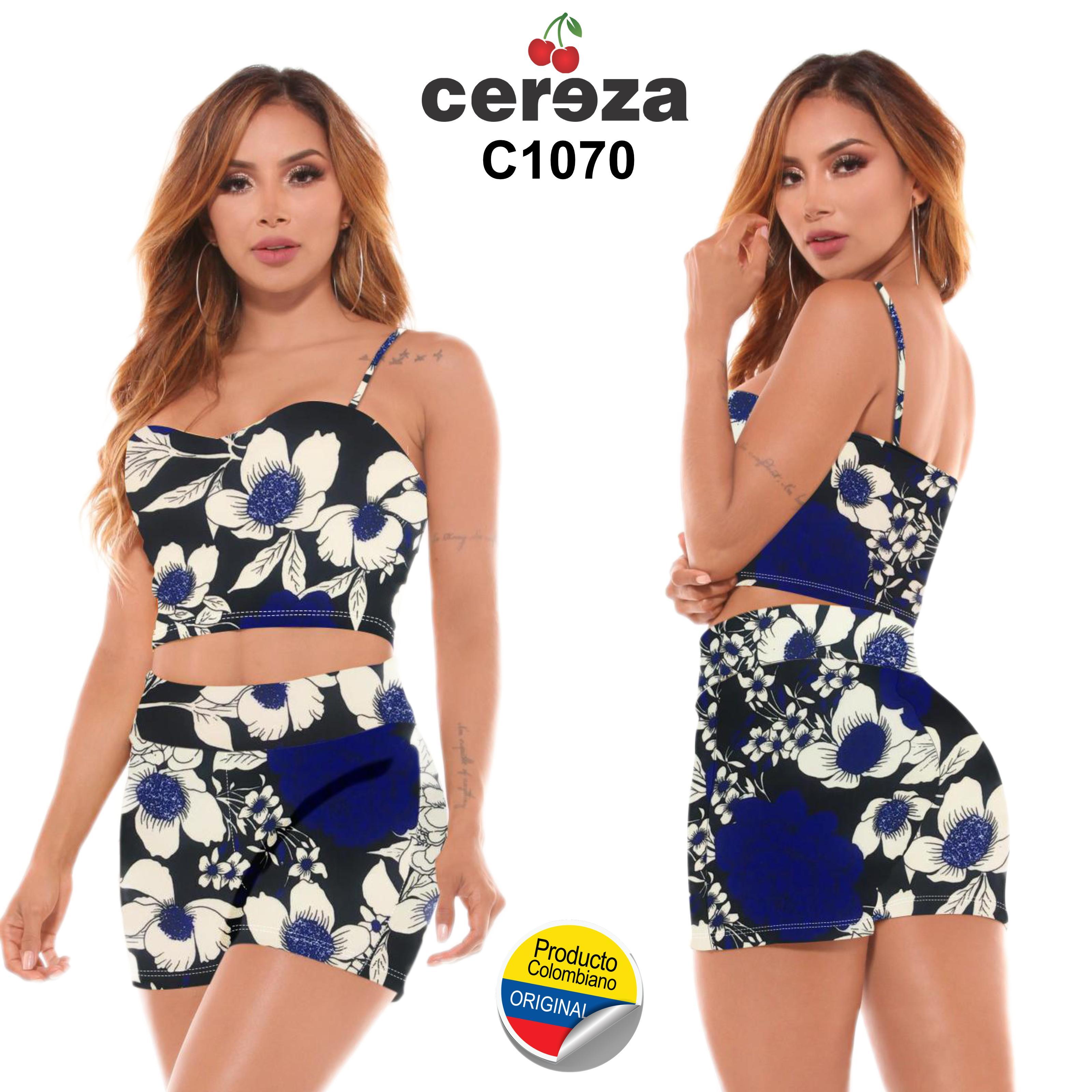 Conjunto Short Colombiano Diseño Floral Verano