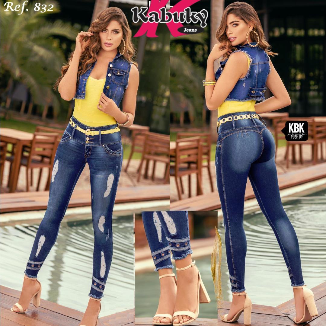Jean Push Up Colombiano de moda con pretina alta control de cintura y destoyer