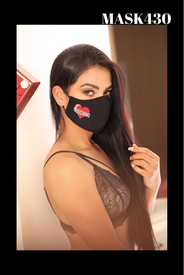 Mascarilla Protección Fashion Negra Estampado Moshino