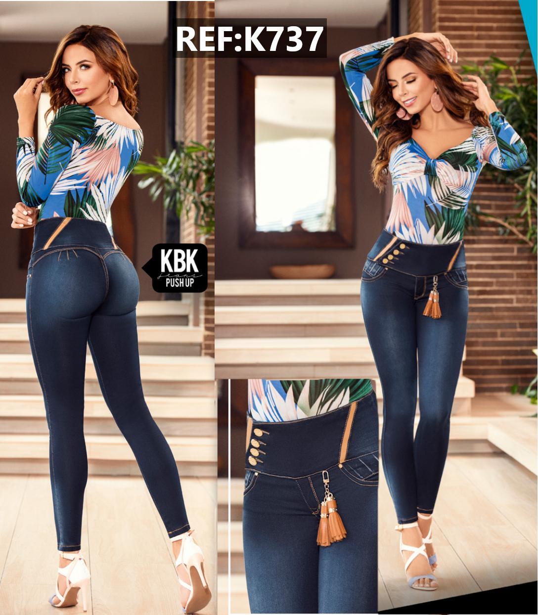 Pantalon Jean Colombiano Pretina alta y Ancha con efecto Push Up